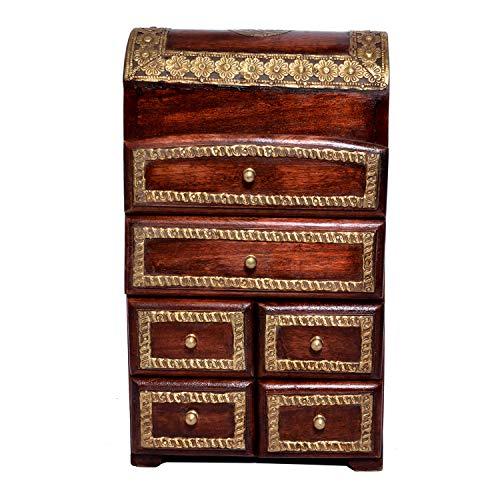 Jaipur Crafrafts Ensemble de Petits tiroirs en Bois Massif avec 6 tiroirs avec Porte-étiquette en métal Multicolore