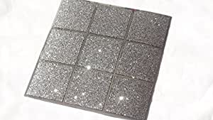 Pack Of 10 Black And Silver Glitter Mosaic Tile Transfers Stickers Bathroom Kitchen Stick On Wall Tile Peel And Stick Size 6x6