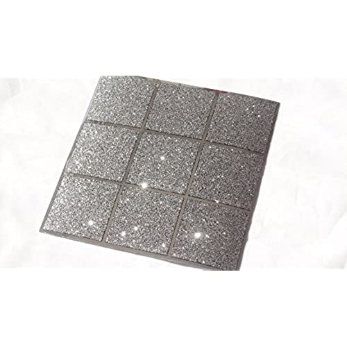 Elegant Pack Of 10 Black And Silver Glitter Mosaic Tile Transfers Stickers Bathroom  Kitchen Stick On Wall Tile Peel And Stick Size 6X6