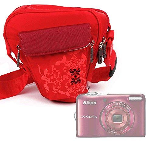 Galleria fotografica Borsa Donna Per Fotocamera Yi M1 4K | Nikon COOLPIX L32 | Bell+Howell DC5-BL - Con Maniglia / Tracolla - Colore Rosso - DURAGADGET