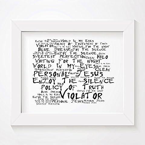 `Noir Paranoiac` Kunstdruck - DEPECHE MODE - Violator - Unterzeichnet und Nummerierten Limitierte Auflage Typografie Ungerahmt 25 x 20 cm (10 x 8 inch) Wand Kunst Druck Text Lyrisch Grafik Plakat - Song Lyrics Art Print