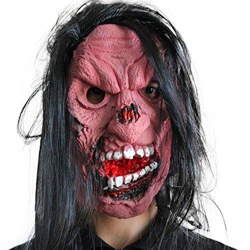 Fester Face Schwestern Gesicht Zombie Maske mask Kopf aus sehr hochwertigen Latex Material mit Öffnungen an Augen Halloween Karneval Fasching Kostüm Verkleidung für Erwachsene Männer und Frauen Damen Herren gruselig (Zombie Fester)
