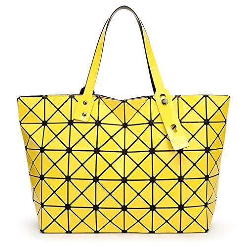 Frauen Tasche Damen Geometrische Pailletten Spiegel Plain Folding Handtasche Mujer Mosaik Umhängetaschen Top Griff Tote Yellow -