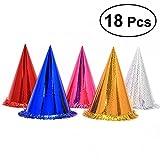 NUOLUX 18pcs Sombreros de papel del cumpleaños de los sombreros del cono del partido con el huésped que brilla de la borla para los cabritos y los adultos (color de la mezcla)