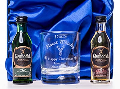 (GD) Engraved/Personalised CHRISTMAS FINEST WHISKY DESIGN Glass Tumbler + 2 x Glenfiddich Whisky Miniatures in Silk Gift Box