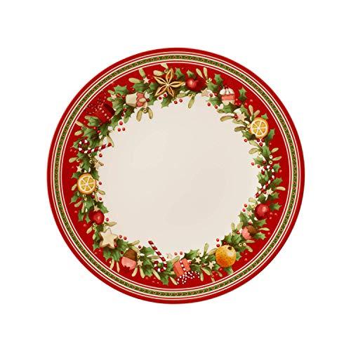 Villeroy & Boch Winter Bakery Delight Assiette plate, 27 cm, Porcelaine Premium, Blanc/Roug