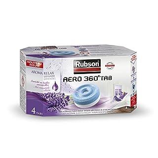 Rubson AERO 360° AROMA Recharge en tabs à la lavande pour absorbeur d'humidité, ultra absorbantes et anti odeur, recharge pour déshumidificateur AERO 360° (4 x 450 g)