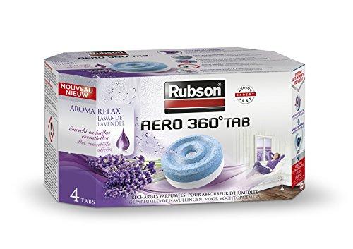 RUBSON - Recharge parfumée pour absorbeur d'humidité AERO 360° - Aroma Relax Lavande - 4 Recharges