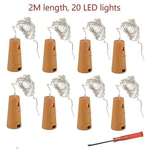 8 Bouteille Liège LED lumière avec 20 LEDs Blanc froid Guirlande lumineuses, 2m Fil de Cuivre, Idéal pour bouteille DIY, fête, Noël, Halloween, Mariage
