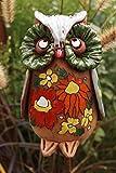 Keramik Eule Clara 20cm mit Blüten Gartenstecker Figur Handarbeit Dekoration