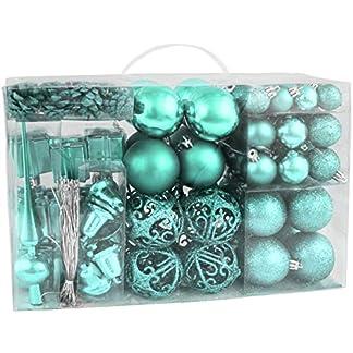 BRUBAKER 101-piezas de Bolas de Navidad con Copas de árboles Azul