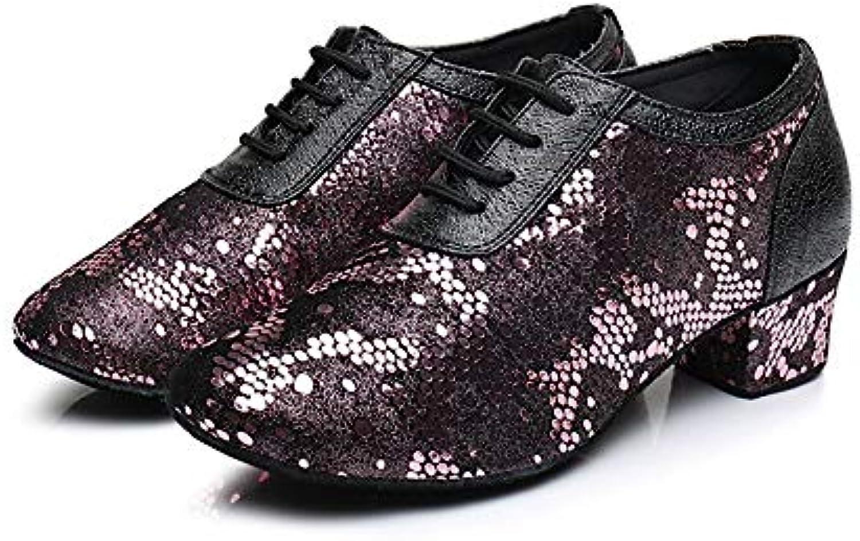 HCCY Scarpe da Ballo Latino con Tacco Alto da Donna con Laccetti Rossi e Neri con Paillettes | Sulla Vendita  | Maschio/Ragazze Scarpa