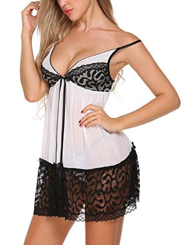 Avidlove Damen Sexy Nachthemd Kurz Negligee Nachtwäsche Sleepwear Unterkleid Lingerie Unterröcke Kleider Babydoll mit String & Spitze Dekor D-Weiß