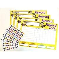4 x Gráfico de recompensa para niños y 250 pegatinas para premiar a los niños buen comportamiento (paquete de 2)
