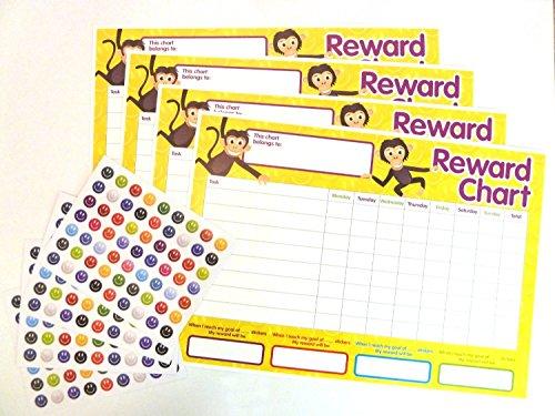 4x Kinder Belohnung Diagramme und 250Aufkleber für Belohnung Kinder Gute Verhalten (2Stück) (2 Verhalten Für Kinder Diagramm)