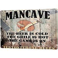 Cartel de chapa Placa metal tin sign Reglas para barbacoa cueva del hombre Rugby cerveza Letrero De Metal 20X30 cm