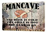 Blechschild Man Cave American Football Bier Grill Regeln Metall Deko Schild 20X30 cm
