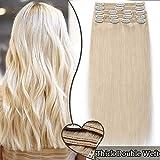 Extension Cheveux Clip Naturel Maxi Volume - Double Weft Extensions de Cheveux Humains à Clips #60 BLOND PLATINE (8 Bandes, 12 Pouces/30cm, 115g)