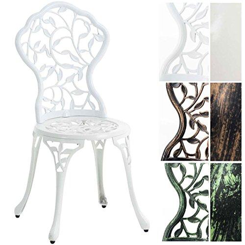 CLP Chaise de Jardin en Fonte d'Aluminium Goyal – Chaise de Robuste avec Un Design Nostalgique – Résistantes aux Intempéries – Revêtement par Poudrage – Couleur au Choix : Blanc