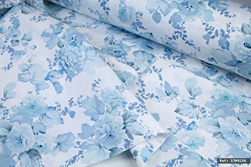 Rose Floral Cotton Fabric (Pale Blue Rose Floral 100% cotton fabric, 1m length x 1.6m width. By the meter - Ref:1709136)