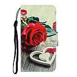 Nadoli für Xiaomi Redmi Note 7 Hülle,Rose Blume Muster PU Leder Magnetisch Flip Brieftasche mit Handschlaufe Kartenslot Ständer Klapphülle für Xiaomi Redmi Note 7
