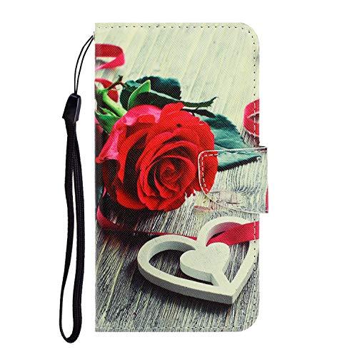 Nadoli für iPhone 11 Hülle,Rose Blume Muster PU Leder Magnetisch Flip Brieftasche mit Handschlaufe Kartenslot Ständer Klapphülle für iPhone 11