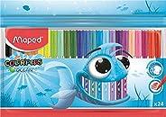 Maped - Feutres Ocean Color Peps - 24 Feutres de Coloriage Encre Lavable - Pointe Fine Ogive Douce et Souple -