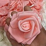 Gemini _ Mall 50pcs en mousse Rose Têtes Champagne Fleur artificielle Bouquet de mariée mariage fête Décor DIY, Mousse, pêche, Taille unique