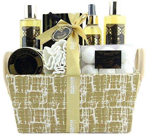 BRUBAKER Cosmetics Bade- und Dusch Set Vanille Minze Duft - 14-teiliges Geschenkset in Henkelbox -