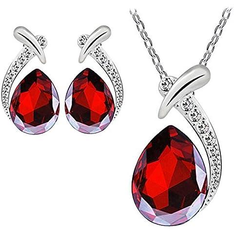Starvy (TM) Pendente di cristallo Donne placcato argento della collana della catena Orecchino Jewelry Set 27 luglio - Argento Placcato Orecchini Di Fascino