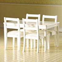 The Dolls House Emporium White Table & Four Chairs