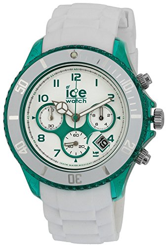 ICE-Watch Chrono Party Unisex Quartz Watch with White Dial Time Teacher Display and White Silicone Bracelet CH.WEM.BB.S.13