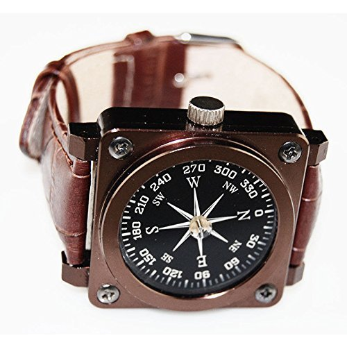 Shaddock Fishing ® Outdoor Camping Hiking Portable Compass Navigation Tool--Magnifying Compass Hiking Camping Boating Map Reading Orienteering,Waterproof Hiking Military Navigation Compass with Pouch Lanyard,Brass Round Golden Compass Navigation,LED Ligh