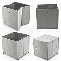 AllRight 4 Stück Faltbox Faltbare Aufbewahrungsbox Stoff Faltkiste Grau mit Fingerloch 32 x 32 x 32 cm für Raumteiler oder Regale - preisvergleich