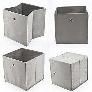 MultiWare 4 Stück Faltbox Faltbare Aufbewahrungsbox Stoff Faltkiste Grau mit Fingerloch 32 x 32 x 32 cm für Raumteiler oder Regale