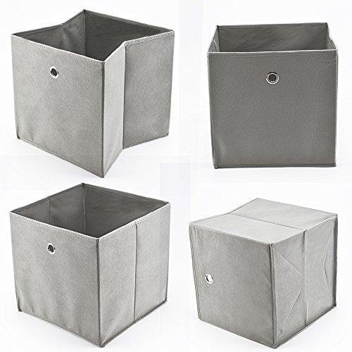 faltboxen stoff AllRight 4 Stück Faltbox Faltbare Aufbewahrungsbox Stoff Faltkiste Grau mit Fingerloch 32 x 32 x 32 cm für Raumteiler oder Regale