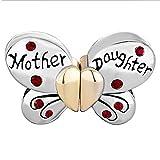 Pugster teilbarer Schmetterling Mutter Tochter Kristall Herz Love Mom für Pandora Charms Armband