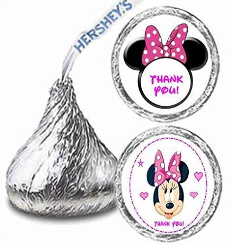 216 Minnie Mouse Birthday Hershey Kisses Stickers Party Favors by Maestro