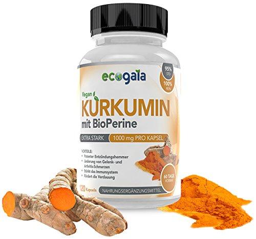 EcoGaia Curcumin mit Bioperine 2000 mg Tagesdosis - 120 vegane Kurkumin Kapseln , Turmeric - Kurkuma mit Antioxidantien