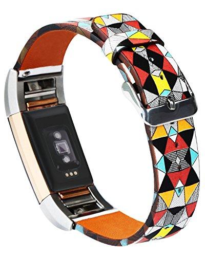 """Dailylux Für Fitbit Charge 2 Armband,Fitbit Charge 2 Leder Armband Bänder, mit Verstellbarer Metallschließe für Fitbit Charge 2 Unisex Ersatzband mit Metall Konnektoren(5,5\""""-8,1\"""")-Bunter Diamant"""