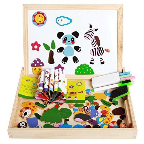 Lance Educativo Bambino Giocattoli Lavagna Magnetica in Legno con Contenitore Magnetica Jigsaw Giochi per i Bambini oltre 3 Anni