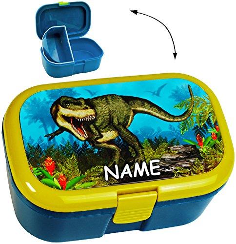 """Lunchbox / Brotdose - """" Dinosaurier - Dino T-Rex """" - incl. Name - mit extra Einsatz / herausnehmbaren Fach - Brotbüchse Küche Essen - für Mädchen & Jungen - Tyrannosaurus Rex / Urzeit - Saurier - Tiere - Dinos - Vesperbrotdose - Schule - bpa frei - Kindergarten Kita - Kinder Vesperdose - Brotzeitdose / Fach / Trennwand - Fächern"""