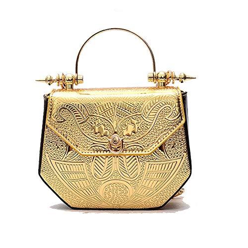 Mzdpp Designer-TascheKreatives Patent Leder Metall Handtasche Geprägte Satchel Bag Kette Crossbody Umhängetaschen -