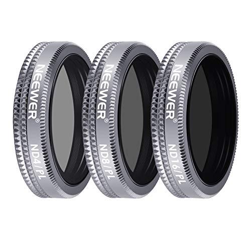 Neewer Kit de Filtre d'Objectif pour DJI Mavic 2 Zoom, avec ND4/PL ND8/PL ND16/PL Filters Multicouches avec Boîtier de Transport pour Photographie en Plein Air (Cadre Gris en Alliage d'Aluminium)