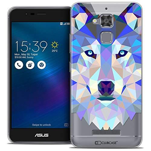 Caseink - Coque Housse Etui pour ASUS Zenfone 3 Max ZC520TL (5.2) [Crystal Gel HD Polygon Series Animal - Souple - Ultra Fin - Imprimé en France] Loup