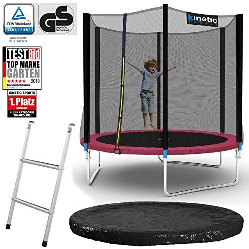 Kinetic Sports Outdoor Gartentrampolin Komplett-Set inkl. Sicherheitsnetz Randabdeckung Leiter Abdeckplane für Kinder und Erwachsene Ø 244 cm PINK