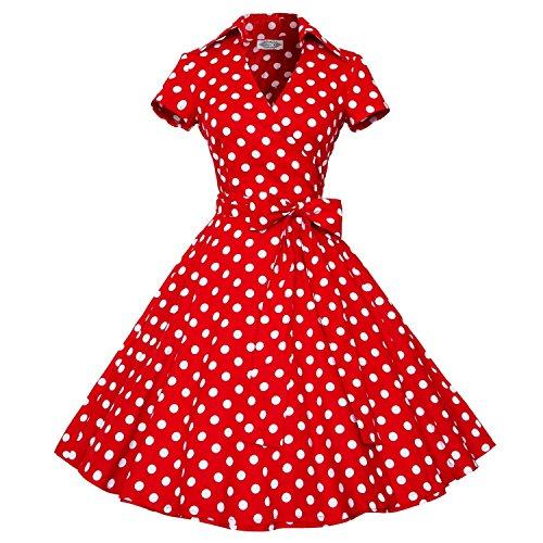 Babyonline Vintage 50s Hepburn diseño floral vintage diseño de lunares Rockabilly Swing Vestido De Fiesta de la mujer rojo Lunar Rojo Medium