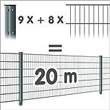 Zaun 20m: 8 Doppelstabmatten + 9 Pfosten 656, Höhe:83cm, Oberfläche:verzinkt - ohne Farbe