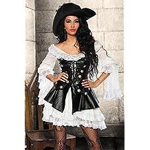 Piraten-Kostüm Kleid, Corsage, Hut, String schwarz/weiß