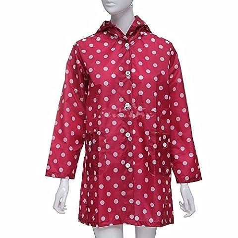 Inovey Women Girls Dot Travel Rain Coat Clothes Waterproof Rainwear Raincoat -Red